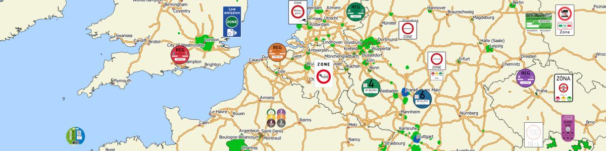 Finden Sie Ihren aktuellen Einfahrstatus in der Green-Zones App: Einfahrt erlaubt (grün), Fahrverbot (rot) oder Vorwarnung (orange).